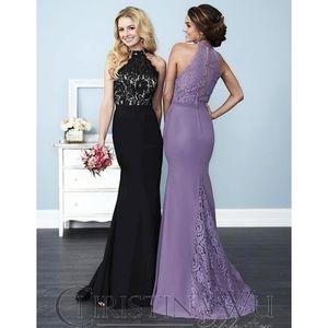 Christina Wu | Purple Lace / Chiffon Halter Dress